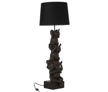 J-Line Lampe 3 éléphants brun