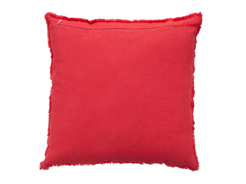J-Line Coussin délavé lin rouge - 71655