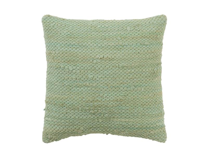 J-Line coussin en coton au crochet (couleur verte) - 94209