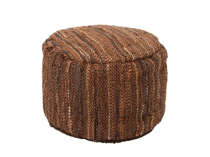 J-Line Pouf en cuir marron (style ethnique)