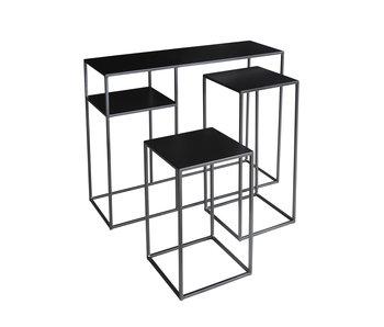 Hamilton Living Table d'appoint Elton L métal poudre noir 90x30x75cm