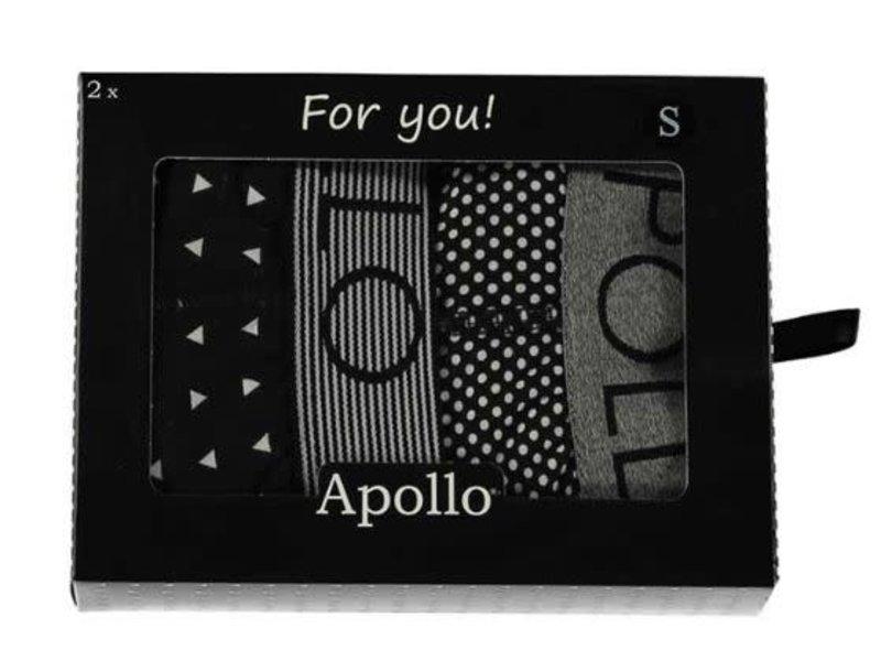 Boxershort M zwart/grijs giftbox 2 stuks