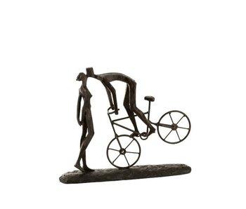 J-Line koppel kus op fiets bruin 36.2x8.2x29cm