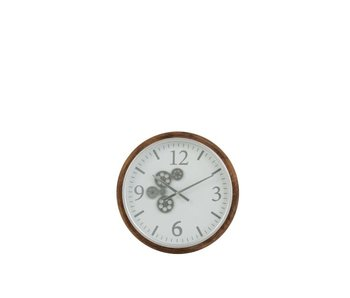 J-Line Horloge radar mdf   blanc gris brun S   52x52x7 cm