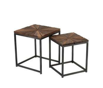 J-Line Table d'appoint Shani | naturel | Large | 43,5x43,5xh53