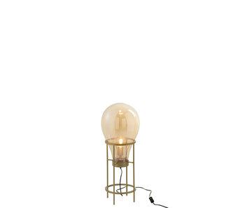 J-Line Lamp ballon   glas/metaal   goud   30x30x78cm