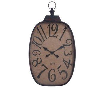J-Line Horloge numéro métal noir / toile de jute 54x6x90h