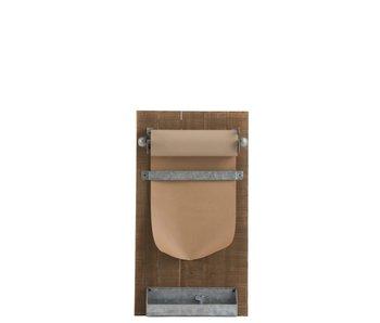 J-Line Bord Memo+Papier | Hout Naturel | 39x15x71cm