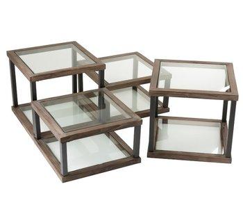 J-Line table salon L - bois/verre marron