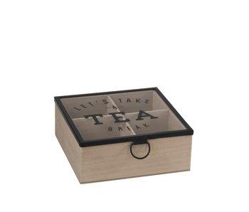 J-Line Theedoos | hout/zwart metaal | 16,5x16,5 cm