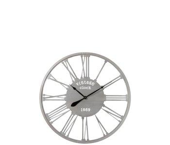 J-Line Klok Vintage 1869 | Metaal Zilver | 86cm diameter