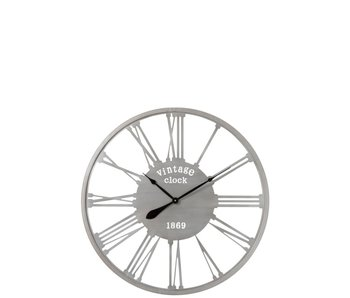 J-Line Klok Vintage 1869 Metaal Zilver (dia86cm)