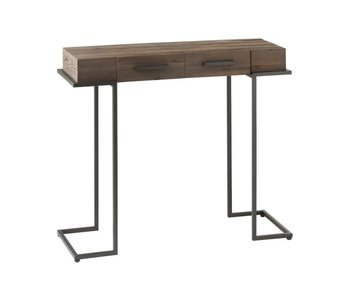 J-Line CONSOLE 2 LADES HOUT/METAAL BRUIN