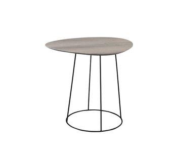 J-Line TABLE D'APPOINT OVALE DEFORME MDF/FER NATUREL/NOIR
