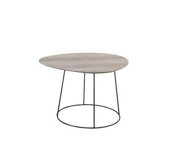 J-Line TABLE SALON OVALE DEFORME MDF/FER NATUREL/NOIR SMALL