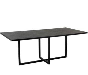 J-Line TABLE RECTANGLE PIEDS CENTRALS MDF/FER NOIR
