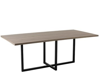 J-Line TABLE RECTANGLE/PIEDS CENTRALS MDF/FER NATUREL/NOIR