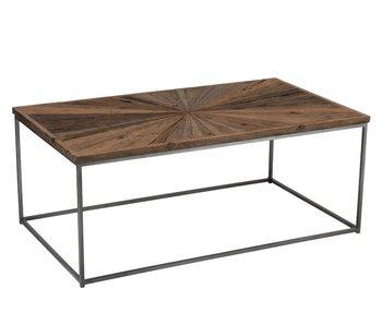 J-Line TABLE SALON SHANIL BOIS/FER NATUREL/GRIS