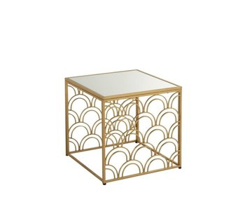 J-Line TABLES D'APPOINT ARCHES CARRE METAL/VERRE OR