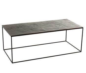 J-Line TABLE SALON RECTANGULAIRE OXIDIZE ALUMINIUM/FER ANTIQUE NOIR/VERT