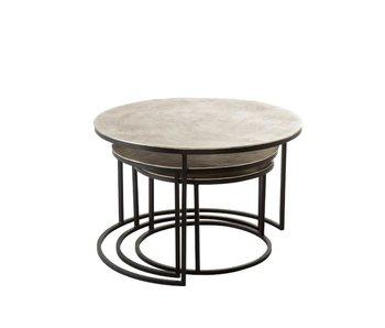J-Line SET 3 TABLES D'APPOINT ROND ALUMINIUM/FER ARGENT BRILLANT