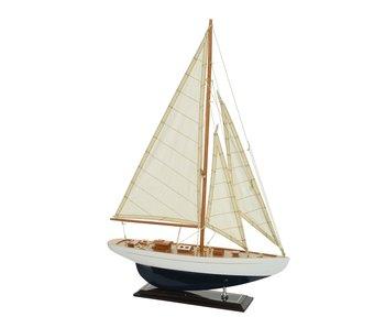 Zeilboot | teak/katoen | 9x42x60cm