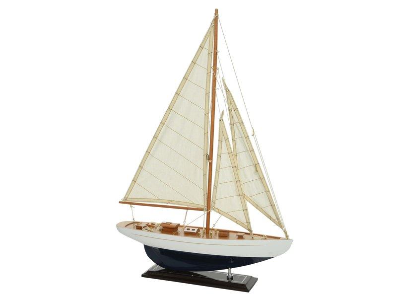 Zeilboot teak/katoen 9x42x60cm