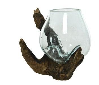 Vase en verre branche   10x10x10cm
