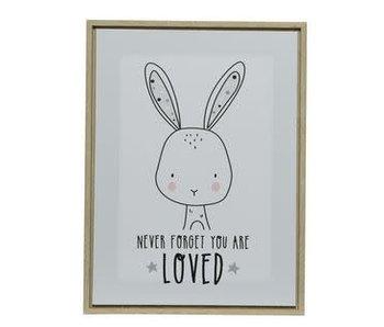 Canvas met lijst konijn 30x40x2.5 cm wit