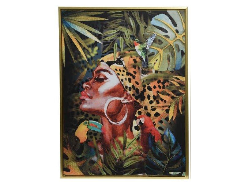 Toile dame africaine 60x80x4 cm or / sur le côté