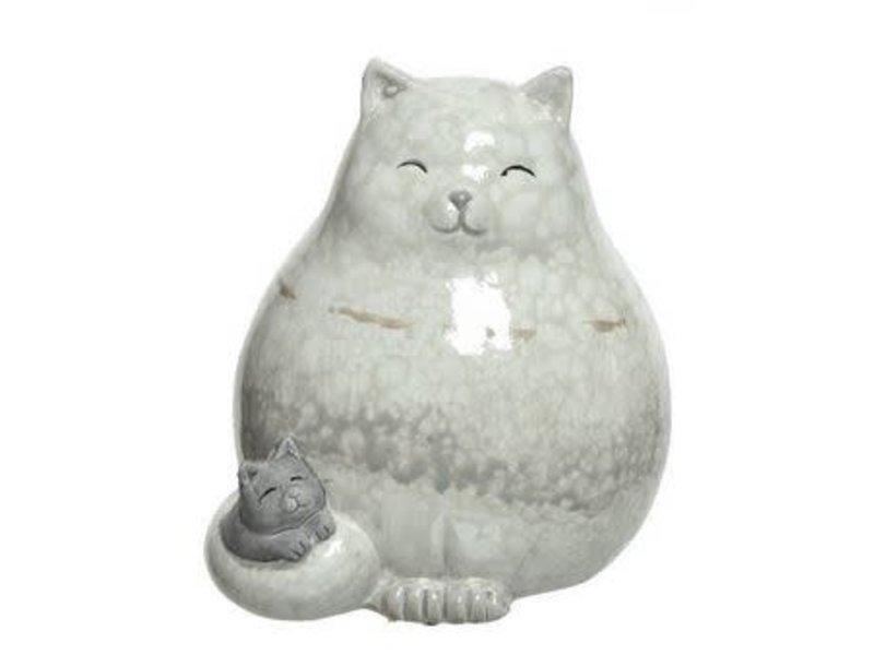 Chat avec chaton à côté terre cuite naturel
