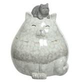 Kat met kitten op het hoofd terracotta naturel