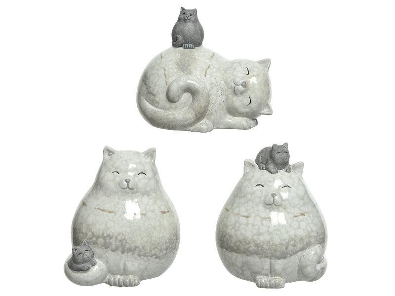 Chat naturel avec chaton sur tête en terre cuite