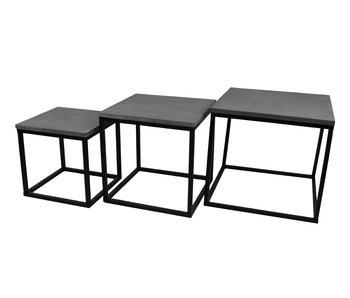 Hamilton Living Table d'appoint Trinity   Medium   ciment / métal noir   42x42x42cm