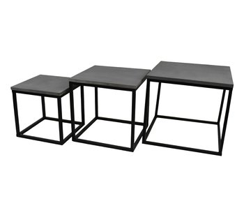 Hamilton Living Table d'appoint Trinity L - ciment / métal noir 50x50x45