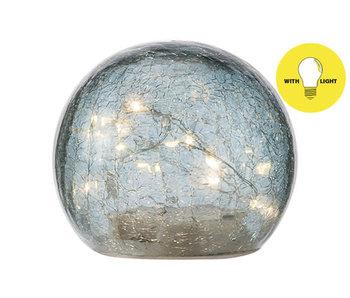 Bal LED lamp blauw D12xH10cm glas
