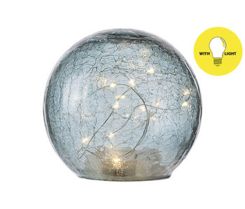 Bal LED lamp blauw   D15xH14cm   glas