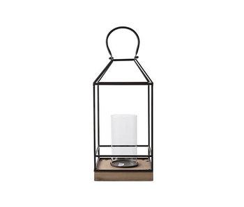 Lantaarn wooden base | zwart | 30x40xH5cm