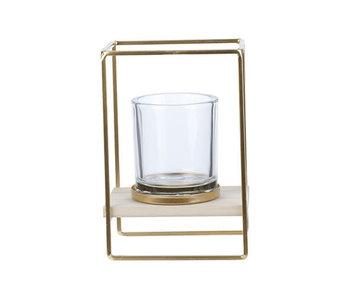 Theelichthouder cube goud   13x10xH19cm