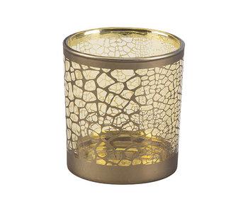 Theelichthouder croco goud | 7.3x7.3xH8cm