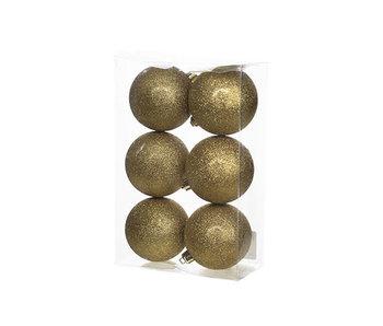 Kerstbal set6 goud glitter 8 cm