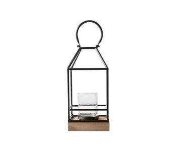 Lantaarn wooden base | zwart | 15x15xH32cm