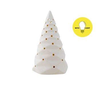 Kerstboom folded wit 9x9xH15.5cm porselein