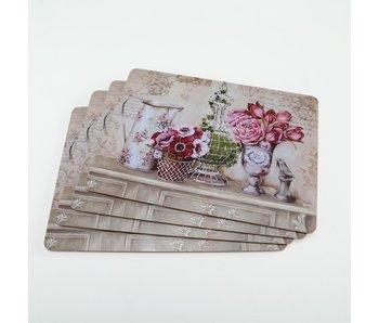 Placemats kurk Blume 4 st roze