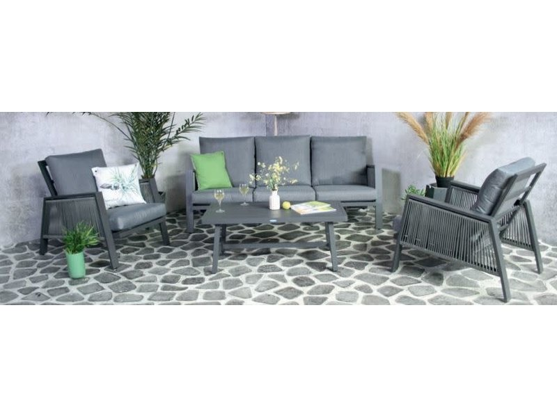 Arenal Loungeset 4 delig  antraciet alu/tex/rope