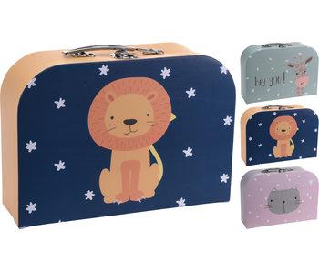 Kinderkoffer blauw -  leeuw 30x21x9.5cm