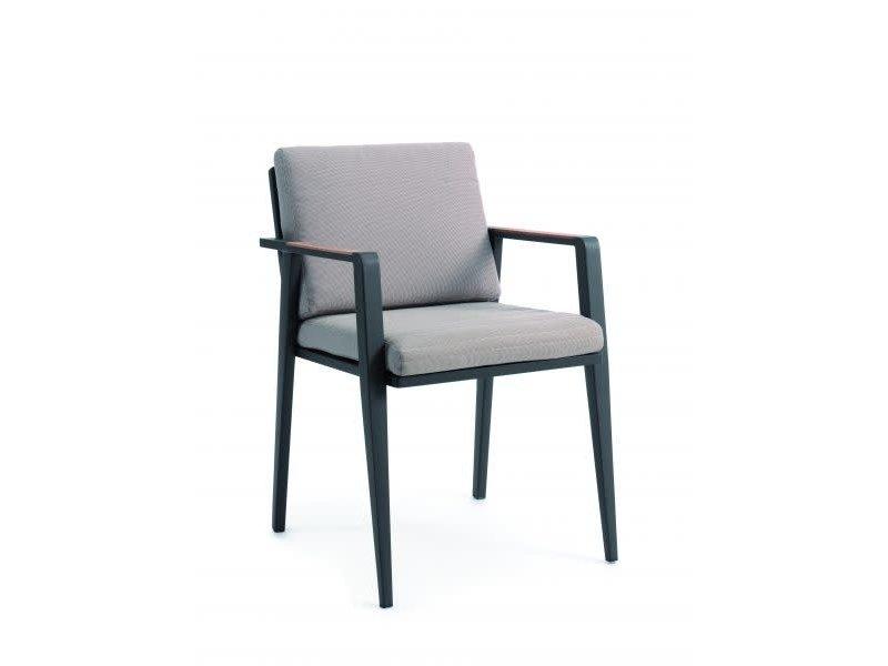 Chaise de jardin Manor alu charcoal/coussin jute