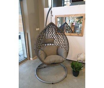 Montreal hangstoel 105x186h staal-wicker grijs