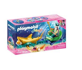 Playmobil Roi des mers avec l'entraîneur de requins 70097