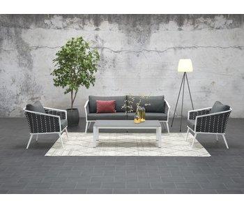 Salon de jardin Jenny 4 pièces blanc mat / corde
